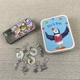 Puffins & Sea Creatures Bits & Bobs Tin & Stitch Markers Set