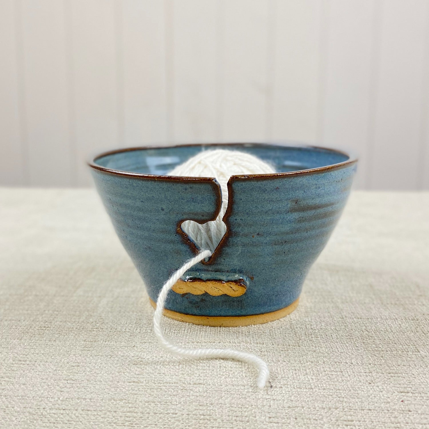 Small Ceramic Yarn Bowl in Rutile Blue