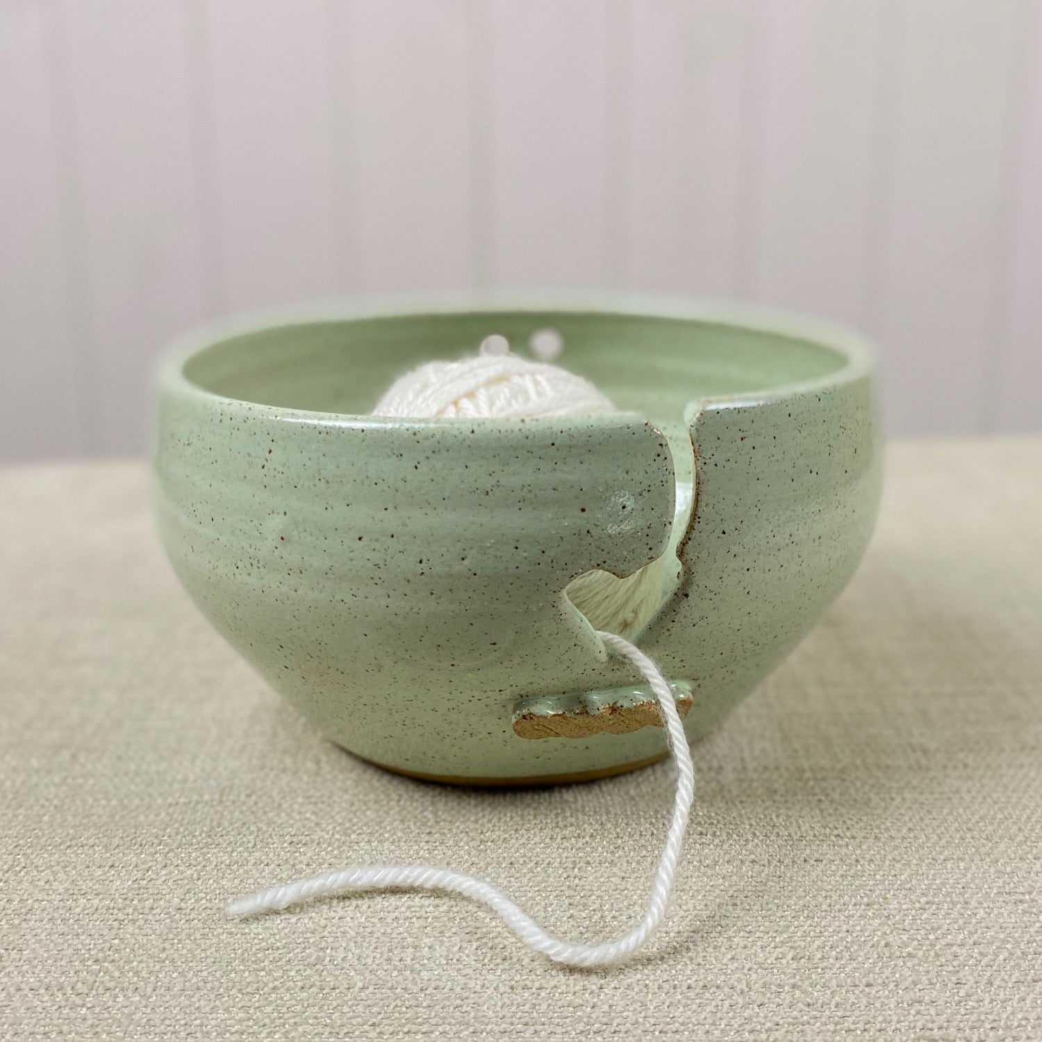 Ceramic Yarn Bowl in Pistachio Green