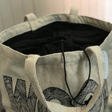 Large Drawstring Bucket Bag - 'Wool'