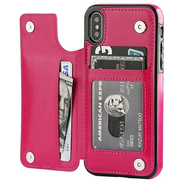 Retro PU Leather Flip Case for iPhone X XS MAX XR Wallet