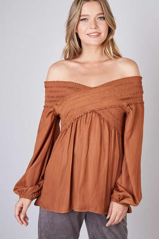 OFF-SHOULDER SMOCKED TOP