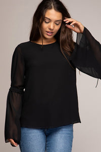 DRAWSTRING BELL SLEEVE BLOUSE