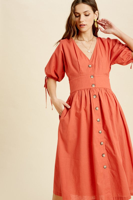 VNECK BUTTON DOWN MIDI DRESS