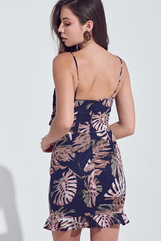 TROPICAL PRINT FRONT TIE DRESS