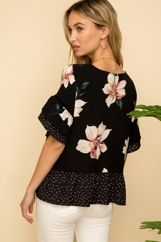 FLORAL RUFFLE TOP