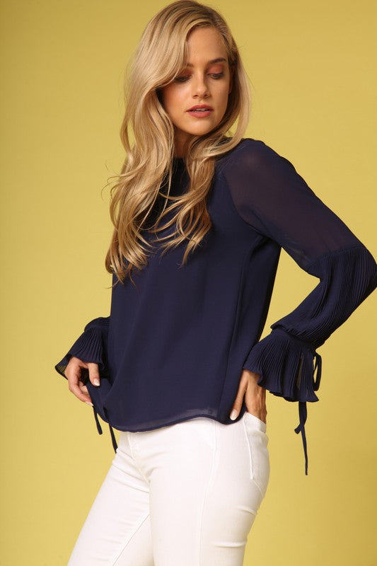PLEATED BELL SLEEVE BLOUSE