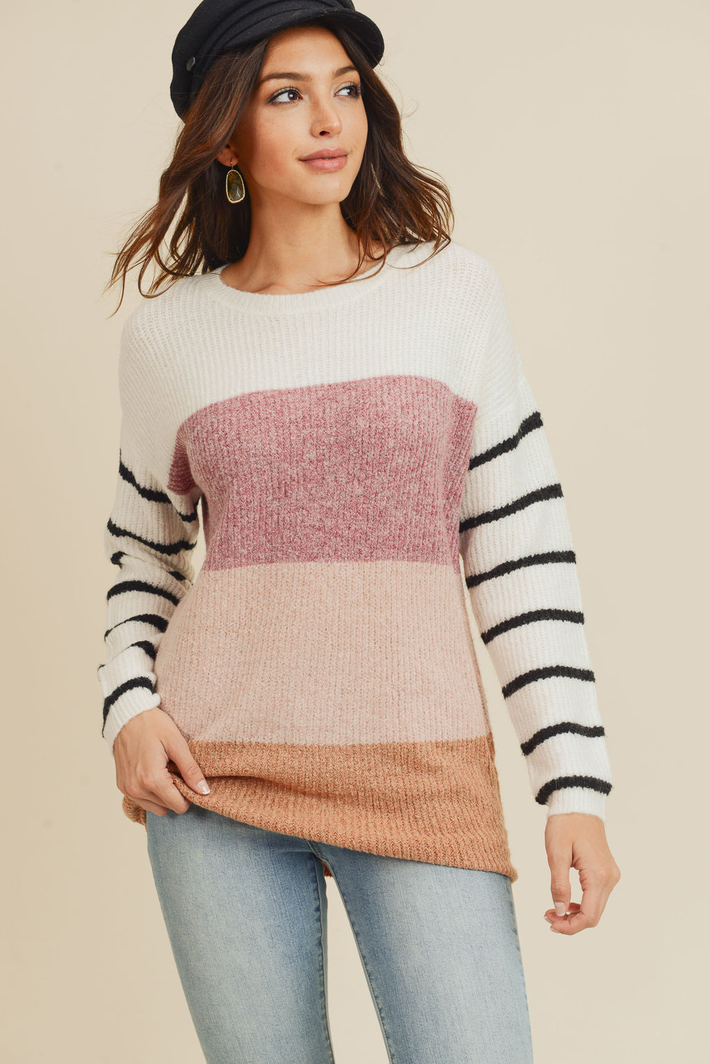 BLOCKED STRIPE SWEATER