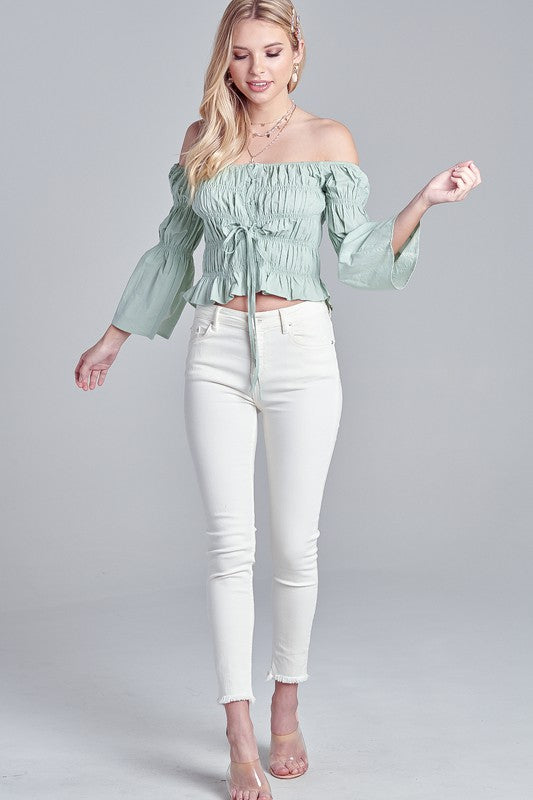 LACE UP OFF SHOULDER CROP