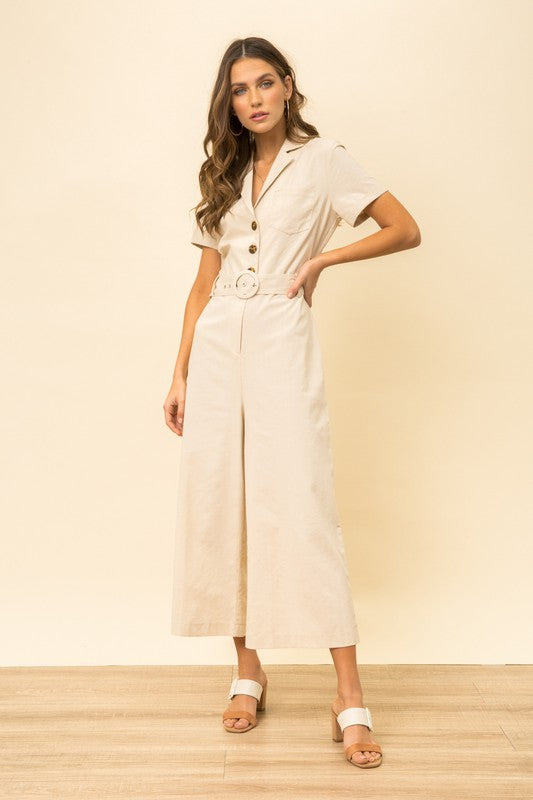 BELTED SAFARI JUMPSUIT