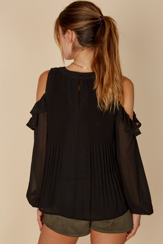 PLEATED COLD SHOULDER BLOUSE