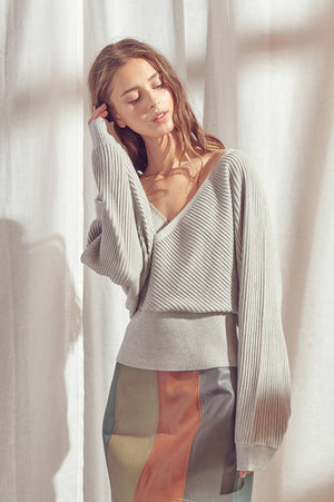 SURPLICE KNIT TOP