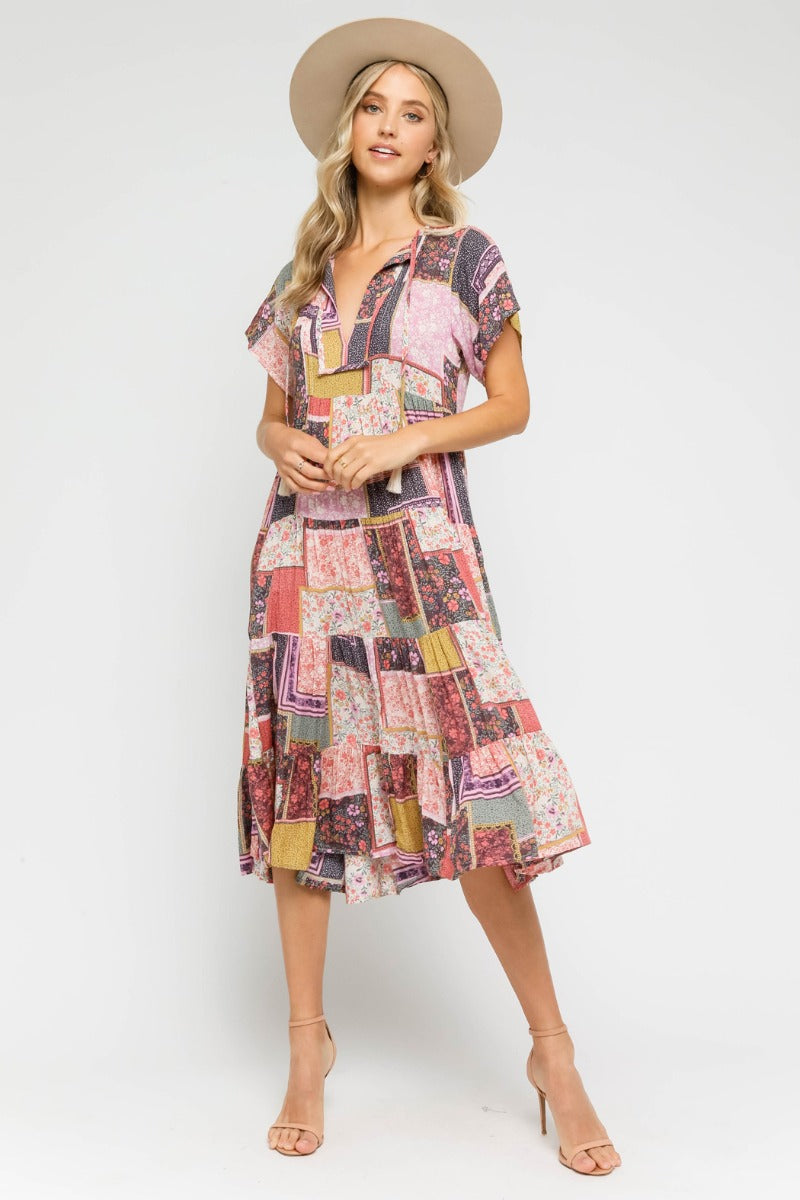 BOHO BABYDOLL MIDI DRESS