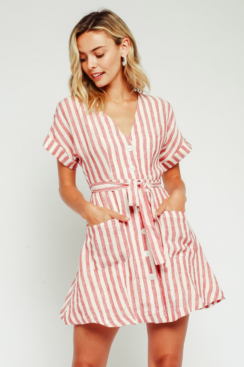 BUTTON UP LINEN MINI DRESS