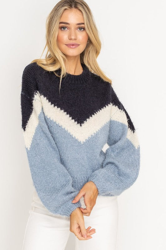 FUZZY CHEVRON SWEATER
