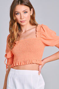 SMOCKED PUFF SLEEVE CROP