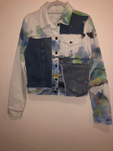TIE DYE PATCHWORK DENIM JACKET (S/M)