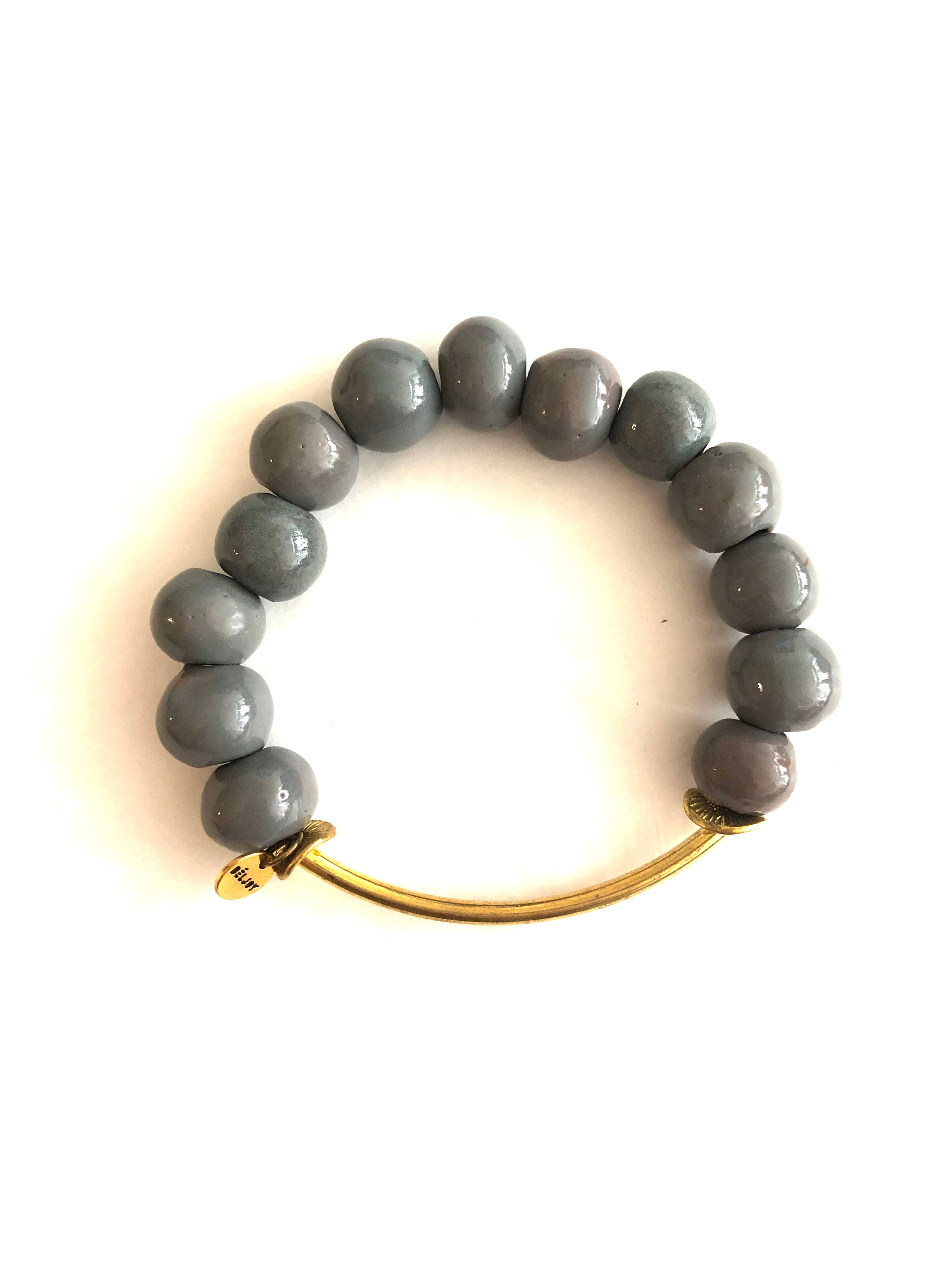 GREY BEAD + BRASS BAR BRACELET