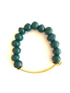 TEAL BEAD + BRASS BAR BRACELET