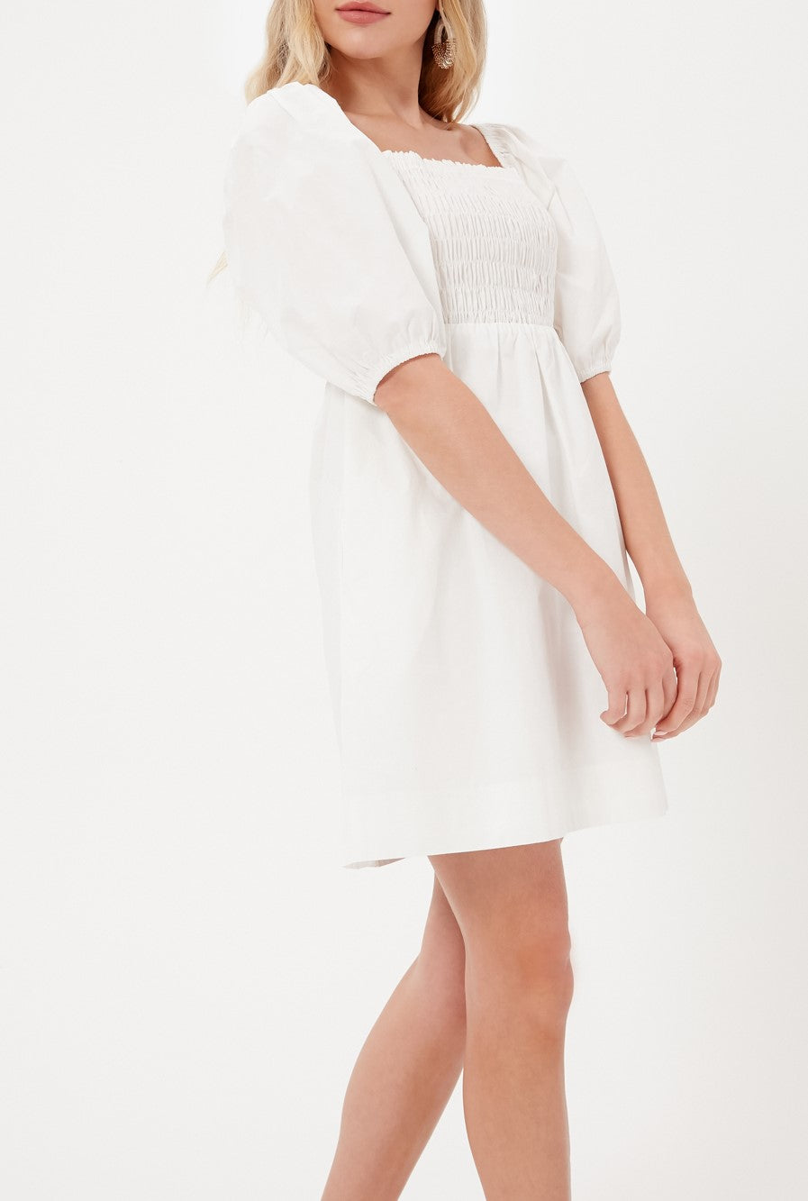 SMOCKED POPLIN MINI DRESS