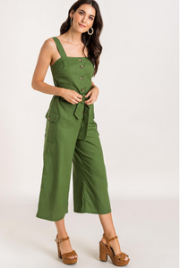 UTILITY BUTTON LINEN JUMPSUIT