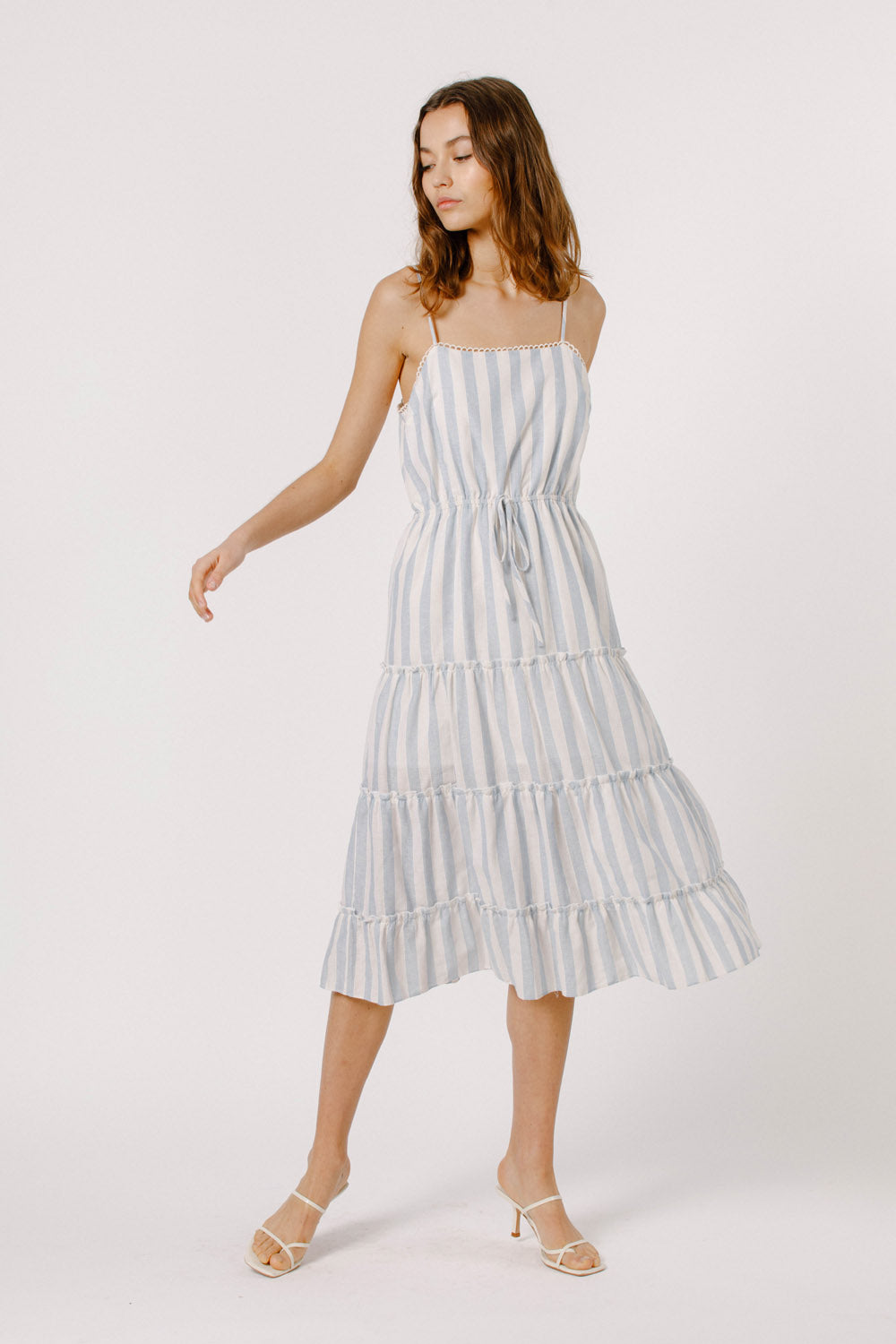RUFFLE TRIM TIERED DRESS