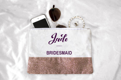 Glitter Canvas Cosmetic Bag - Personalised
