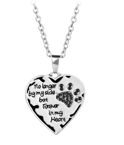 "Memorial Pet Necklace ""No longer by my side, but forever in my heart"""