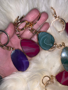 Gold Coated Agate Stone Key Ring