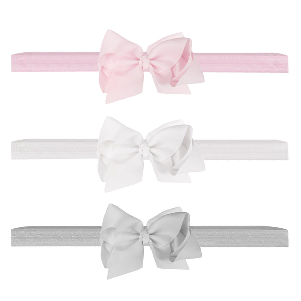 Premium Newborn Bow Headbands Trio Pack