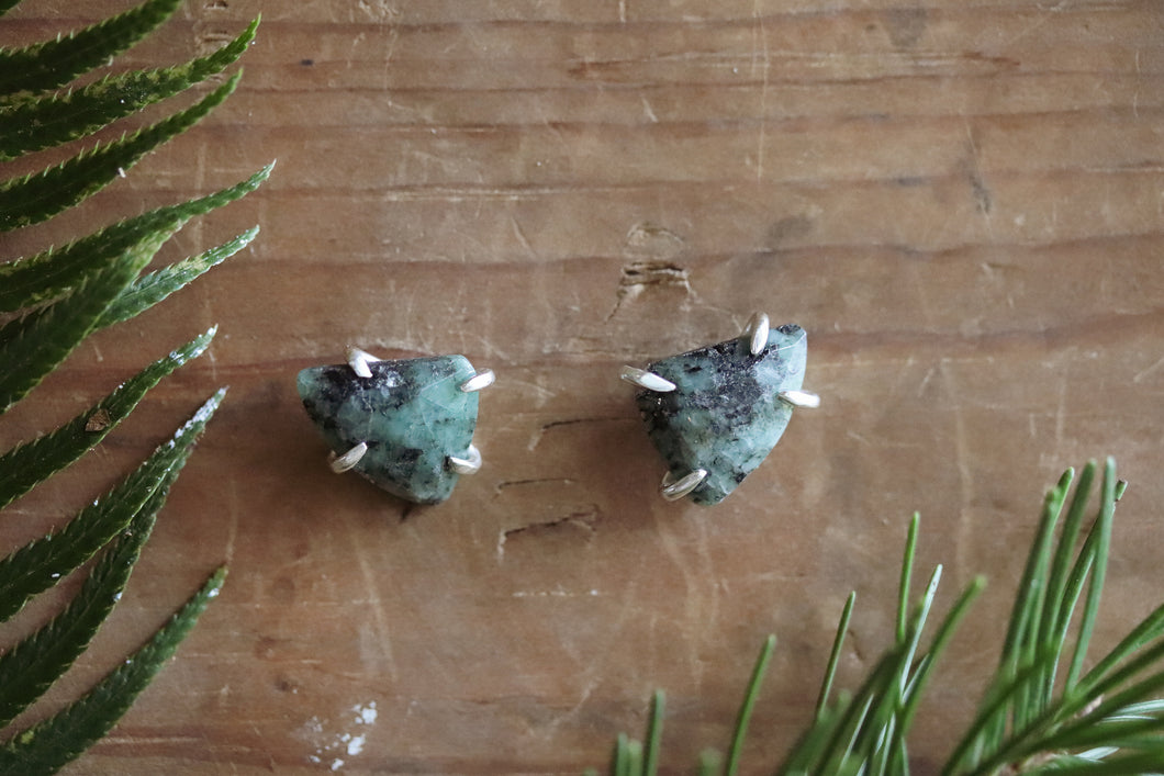Winter Solstice - Emerald Studs #22