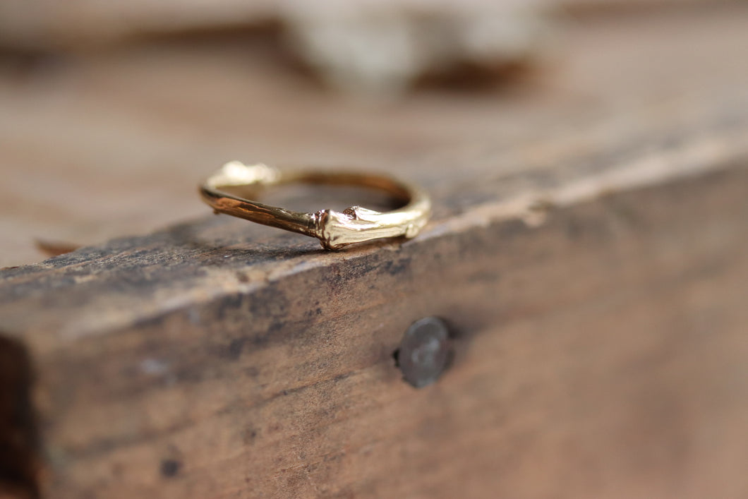 Golden Artemis - Gold Plated Branch Twig Stack Ring