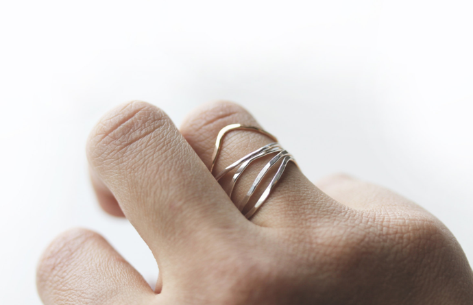 Thin Sterling Silver Nest Stacking Rings