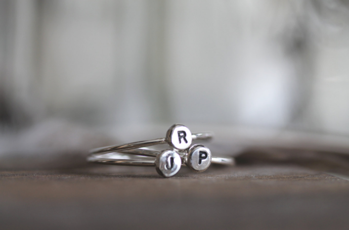 Roots Initial Letter Stacking Ring -
