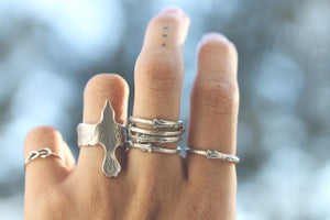 Artemis - Sterling Silver Branch Twig stack ring