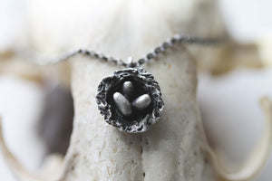 Nest : Sterling Silver Rustic Nest Necklace.