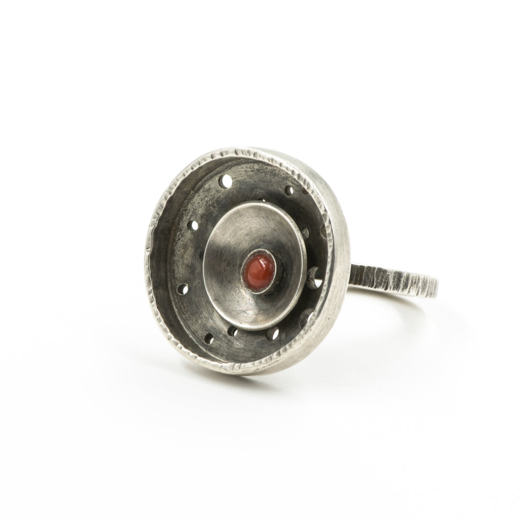 Double Circle Ring with Coral