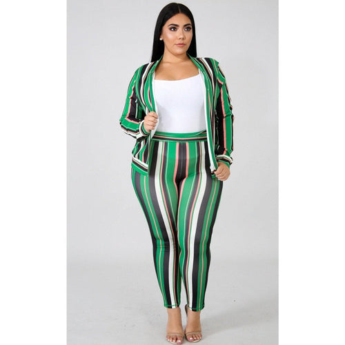 Charming Stripe two piece set - Vigorous Beauty Boutique