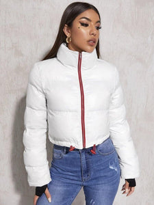 White Hem Puffer Jacket - Vigorous Beauty Boutique