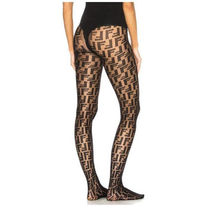Black Letter Fendi Print Tights