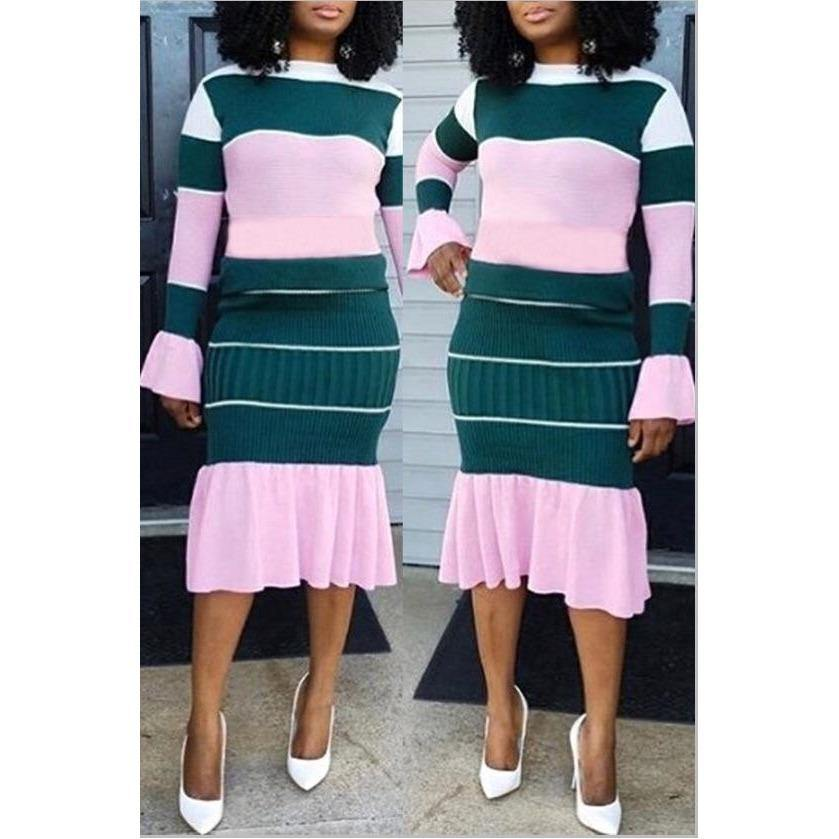 Multi Colored two piece Skirt Set