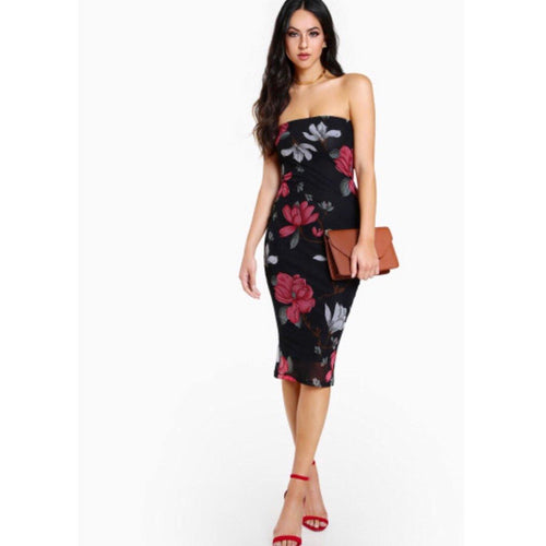 Strapless Floral Dress ❤️