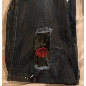 Distressed Jeans With Floral and Net Design !!!