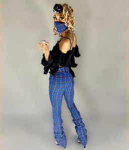 Plaid Stack Pants with matching mask 😷🔥😍 - Vigorous Beauty Boutique