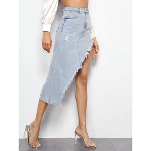 Sexy Cut Asymmetric Denim Skirt