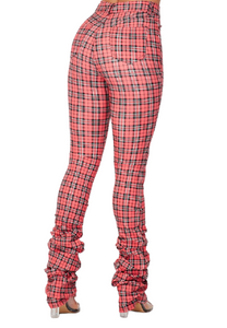 Plaid Stack Pants with matching mask