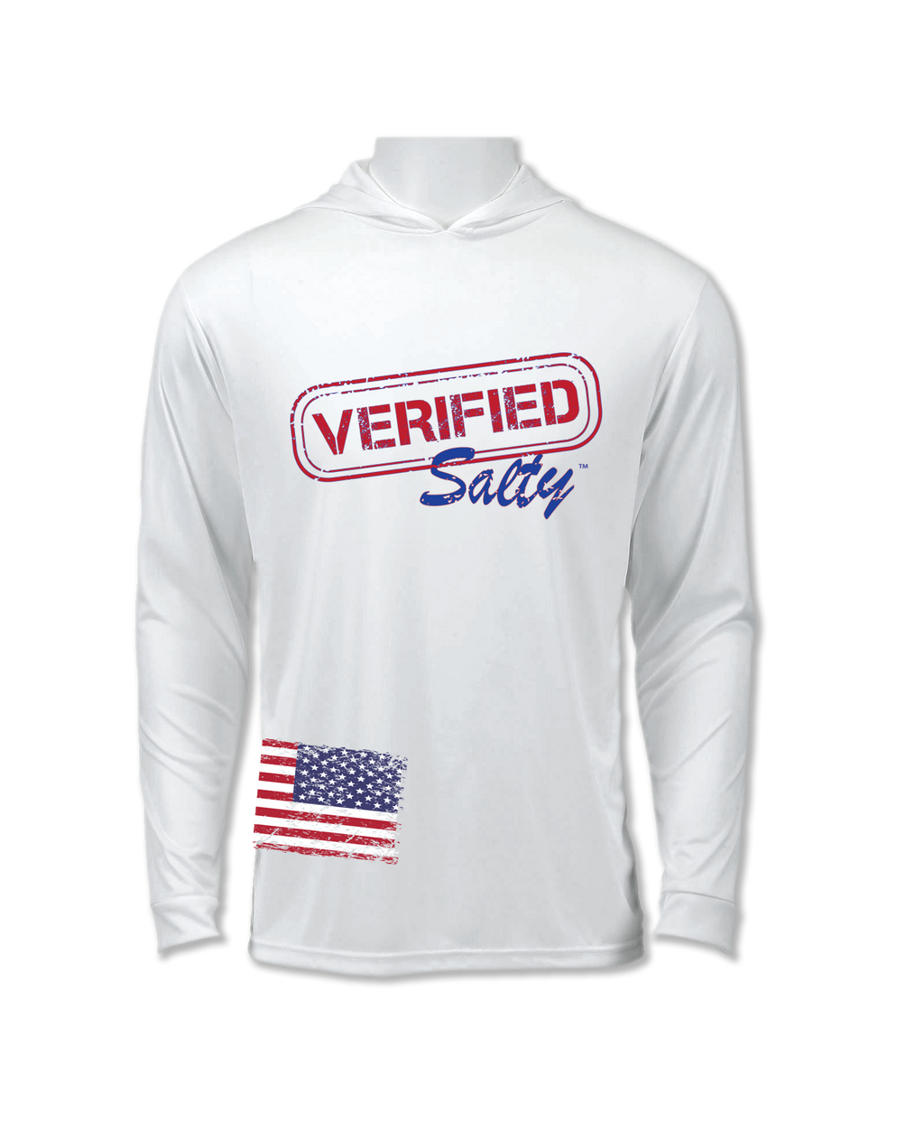 Verified Salty UV 50+ Protection Hoodie Shirt with Long Sleeves and Antimicrobial Finish for Men and Women AMERICA