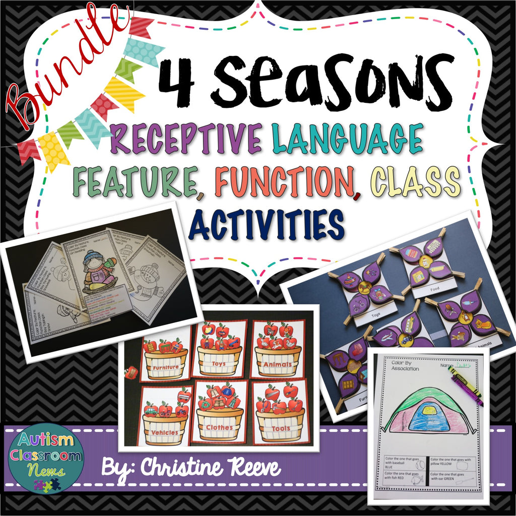 Autism Receptive Vocabulary Activities for 4 Seasons of Practicing Feature, Function & Class (RFFC)