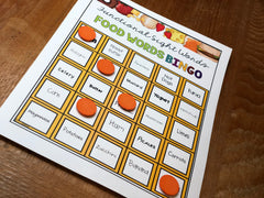 Level 2 Bingo card for functional sight words about food