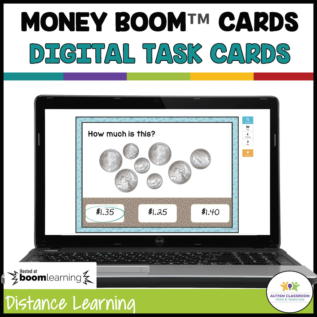 BOOM Cards: Beach Money Task Cards for Distance Learning-Coins to $2 - Autism Classroom Resources